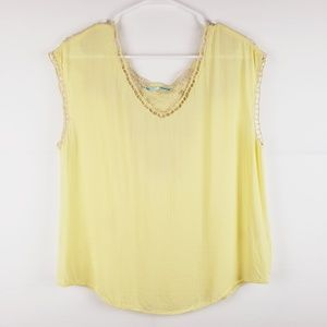 Maurices Yellow Lace Tank Top Size Small